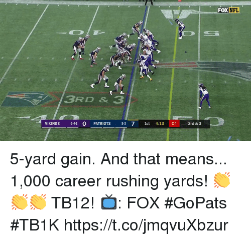 Memes, Nfl, and Patriotic: FOX NFL  3RD & 3  VIKINGS 64-1 0 PATRIOTS 8-3 71st 4:13 04 3rd & 3 5-yard gain. And that means...  1,000 career rushing yards!  👏👏👏 TB12! 📺: FOX #GoPats #TB1K https://t.co/jmqvuXbzur