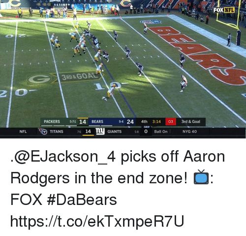 Aaron Rodgers, Memes, and Nfl: FOX NFL  3RD&GOAL  PACKERS 571 14 BEARS  9-4 24 4th 3:14 03 3rd &Goal  TITANS  76 14 n GIANTS 58 Ball On  14 GIANTS 580 Ball On  NFL  NYG 40 .@EJackson_4 picks off Aaron Rodgers in the end zone!  📺: FOX #DaBears https://t.co/ekTxmpeR7U