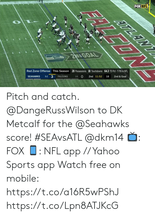 pitch: FOX NFL  ATLANY  17  20&GOAL  28 Possessions 18 Touchdowns 64.3 TD Pct- T-7th in NFL  2nd & Goal  This Season  Red Zone Offense  18  2nd 11:52  1-6 O  FALCONS  5-2 3  SEAHAWKS  FALLEON Pitch and catch.  @DangeRussWilson to DK Metcalf for the @Seahawks score! #SEAvsATL @dkm14  📺: FOX 📱: NFL app // Yahoo Sports app Watch free on mobile: https://t.co/a16R5wPShJ https://t.co/Lpn8ATJKcG