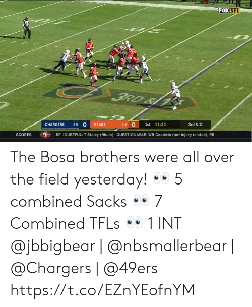 Questionable: FOX NFL  FRD&  3-3 O  2-5 0  CHARGERS  BEARS  1st  11:32  3rd &11  SCORES  SF OUBTFUL: T Staley (fibula) QUESTIONABLE: WR Goodwin (not injury related), RB The Bosa brothers were all over the field yesterday! 👀 5 combined Sacks 👀 7 Combined TFLs 👀 1 INT  @jbbigbear | @nbsmallerbear | @Chargers | @49ers https://t.co/EZnYEofnYM