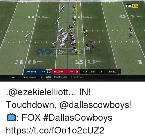 Dallas Cowboys, Memes, and Nfl: FOX  NFL  ND  COWBOYS  45 12FALC  ONS 4-5 9 4th 12:33 18  2nd & 2  NFL  RECEIVING 9  David Moore  4 rec, 57 yds .@ezekielelliott... IN! Touchdown, @dallascowboys!  📺: FOX #DallasCowboys https://t.co/fOo1o2cUZ2