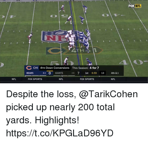 The Loss: FOX NFL  NF  CHI 4TH Down Conversions This Season: 4 for 7  BEARS 8-3 0 GIANTS 3-8 71st 6:59 13  4th & 1  NFL  FOX SPORTS  NFL  FOX SPORTS  NFL Despite the loss, @TarikCohen picked up nearly 200 total yards. Highlights! https://t.co/KPGLaD96YD