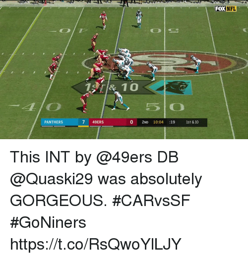 Foxe: FOX  NFL  PANTHERS  7 49ERS  0 2ND 10:04 :191ST &10 This INT by @49ers DB @Quaski29 was absolutely GORGEOUS. #CARvsSF #GoNiners https://t.co/RsQwoYlLJY