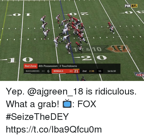 Memes, Nfl, and Bengals: FOX NFL  Red Zone 4th Possession: 3 Touchdowns  BUCCANEERS 3-3 6 BENGALS 43 21 2nd 2:38 11 1st & 10 Yep. @ajgreen_18 is ridiculous.  What a grab!  📺: FOX #SeizeTheDEY https://t.co/Iba9Qfcu0m