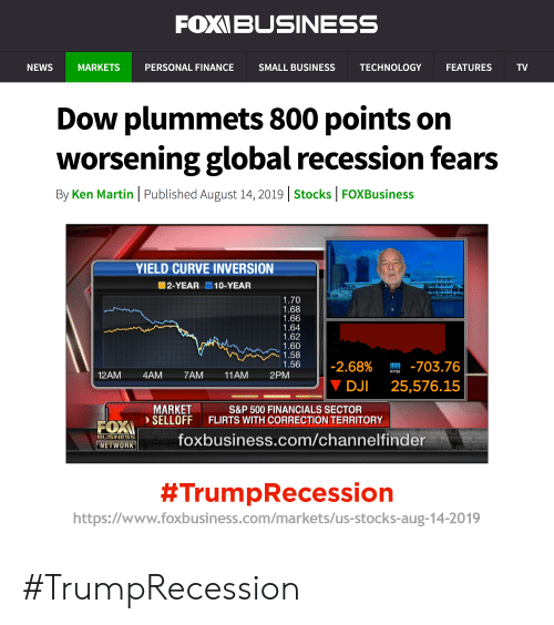dji: FOXIBUSINESS  NEWS  MARKETS  PERSONAL FINANCE  SMALL BUSINESS  TECHNOLOGY  FEATURES  TV  Dow plummets 800 points on  worsening global recession fears  By Ken Martin Published August 14, 2019   Stocks FOXBusiness  YIELD CURVE INVERSION  2-YEAR 10-YEAR  1.70  1.68  1.66  1.64  1.62  1.60  1.58  1.56  M 703.76  -2.68%  NYSE  11AM  12AM  4AM  7AM  2PM  DJI  25,576.15  MARKET  SELLOFF  S&P 500 FINANCIALS SECTOR  FLIRTS WITH CORRECTION TERRITORY  FOX  foxbusiness.com/channelfinder  BUSINESS  US  NETWORK  #TrumpRecession  https://www.foxbusiness.com/markets/us-stocks-aug-14-2019 #TrumpRecession