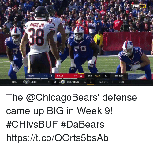 chicagobears: FOXN  NFL  AMOS JR  BEARS  4-3 7 BILLS  2-6 O 2nd 7:25 11 r& 9  NFL  JETS  3-5 0  DOLPHINS 43  2nd QTR  9:20 The @ChicagoBears' defense came up BIG in Week 9! #CHIvsBUF  #DaBears https://t.co/OOrts5bsAb
