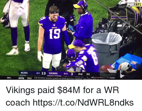 Nfl, Bears, and Game: FOXNFL  15  14 13 VIKINGS 8-61 3 2nd :53  CB Griffin: Leaves game in 2nd quarter (ankle). questuualle le r  BEARS  NFL  SEA Vikings paid $84M for a WR coach   https://t.co/NdWRL8ndks