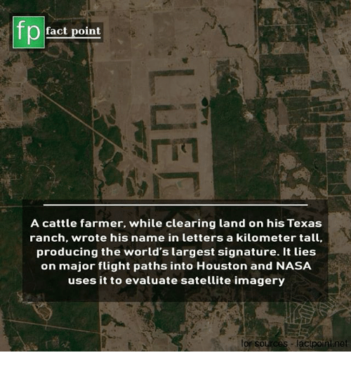 Memes, Nasa, and Flight: fp  fact point  A cattle farmer, while clearing land on his Texa:s  ranch, wrote his name in letters a kilometer tall  producing the world's largest signature. It ties  on major flight paths into Houston and NASA  uses it to evaluate satellite imagery  or sources factpoint.net