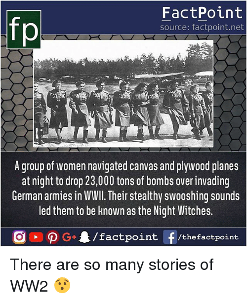 Memes, Canvas, and Women: fp  FactPoint  source: factpoint.net  A group of women navigated canvas and plywood planes  at night to drop 23,000 tons of bombs over invading  German armies in WWll. Their stealthy swooshing sounds  led them to be nown as the Night Witches.  tpoint /thefactpoint There are so many stories of WW2 😯