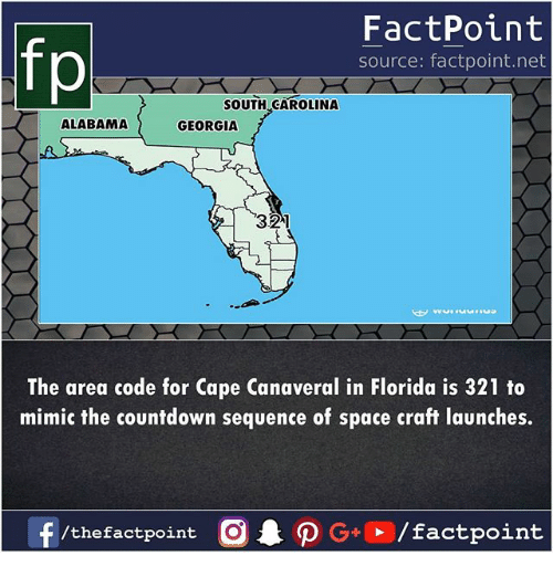 Countdown, Memes, and Alabama: fp  FactPoint  source: factpoint.net  SOUTH CAROLINA  ALABAMA  GEORGIA  321  The area code for Cape Canaveral in Florida is 321 to  mimic the countdown sequence of space craft launches.