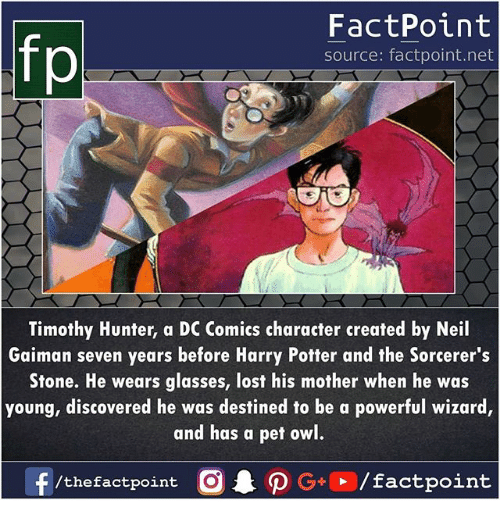 Harry Potter, Memes, and Lost: fp  FactPoint  source: factpoint.net  Timothy Hunter, a DC Comics character created by Neil  Gaiman seven years before Harry Potter and the Sorcerer's  Stone. He wears glasses, lost his mother when he was  young, discovered he was destined to be a powerful wizard,  and has à pef owl.  f/thefactpoint O·P G  /factpoint