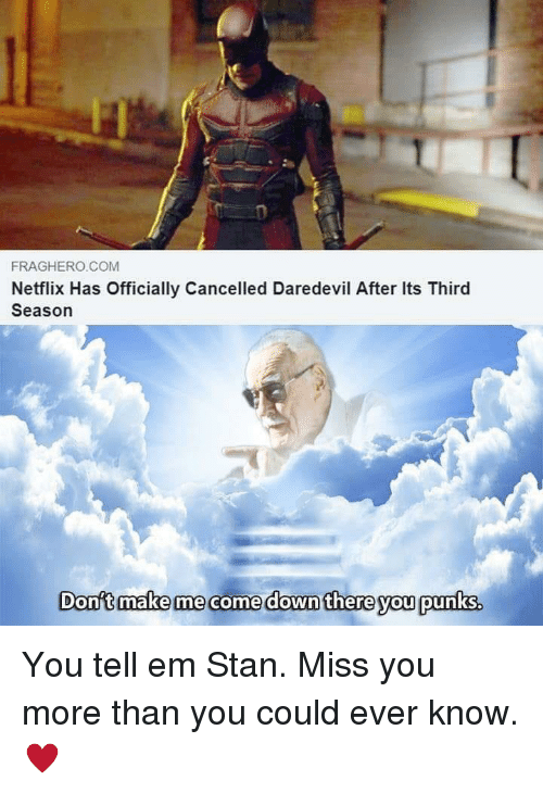Tell Em: FRAGHERO COM  Netflix Has Officially Cancelled Daredevil After Its Third  Season  Donft make me come down there you punks. You tell em Stan. Miss you more than you could ever know. ♥️