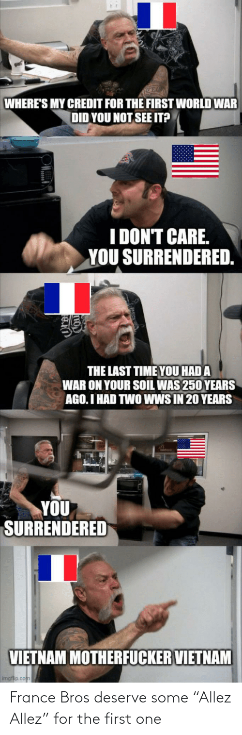 "France: France Bros deserve some ""Allez Allez"" for the first one"