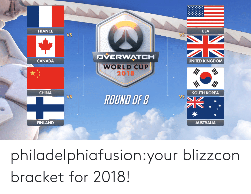 Tumblr, China, and World Cup: FRANCE  USA  Vs  VS  DVERWATCH  WORLD CUP  2018  CANADA  UNITED KINGDOM  CHINA  SOUTH KOREA  VS  VS  ROUND OF B  FINLAND  AUSTRALIA philadelphiafusion:your blizzcon bracket for 2018!