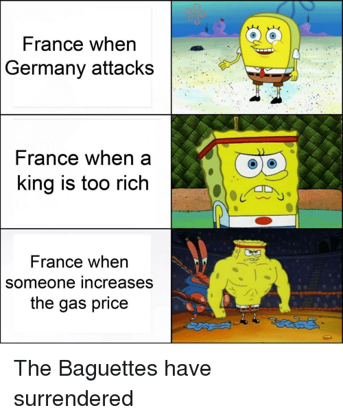 France, Germany, and Rance: France when  Germany attacks  rance when a  ing is too rich  France when  someone increases  the gas price The Baguettes have surrendered
