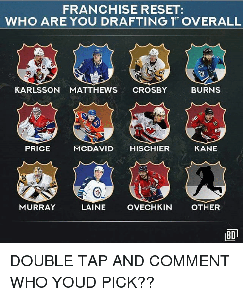 Reseted: FRANCHISE RESET:  ST  di  KARLSSON MATTHEWS CROSBY  BURNS  PRICE  MCDAVID HISCHIER  KANE  MURRAY  LAINE  OVECHKIN  OTHER  BD DOUBLE TAP AND COMMENT WHO YOUD PICK??