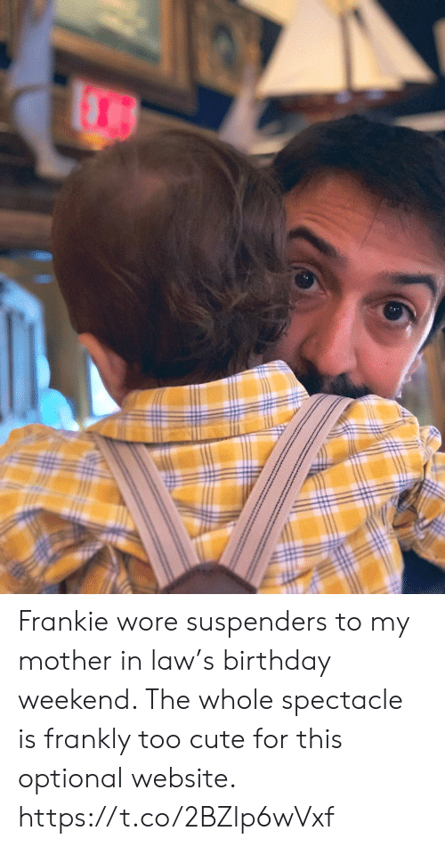 suspenders: Frankie wore suspenders to my mother in law's birthday weekend. The whole spectacle is frankly too cute for this optional website. https://t.co/2BZlp6wVxf