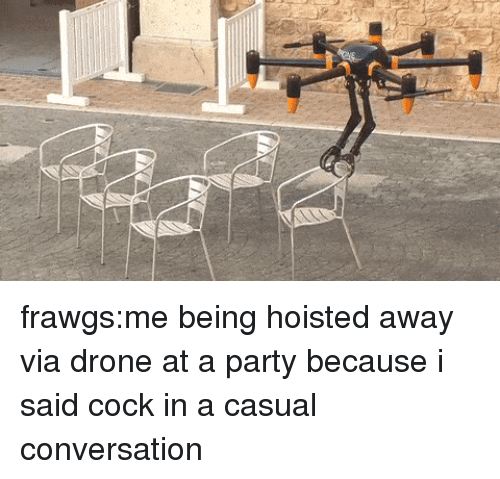 Drone, Party, and Target: frawgs:me being hoisted away via drone at a party because i said cock in a casual conversation