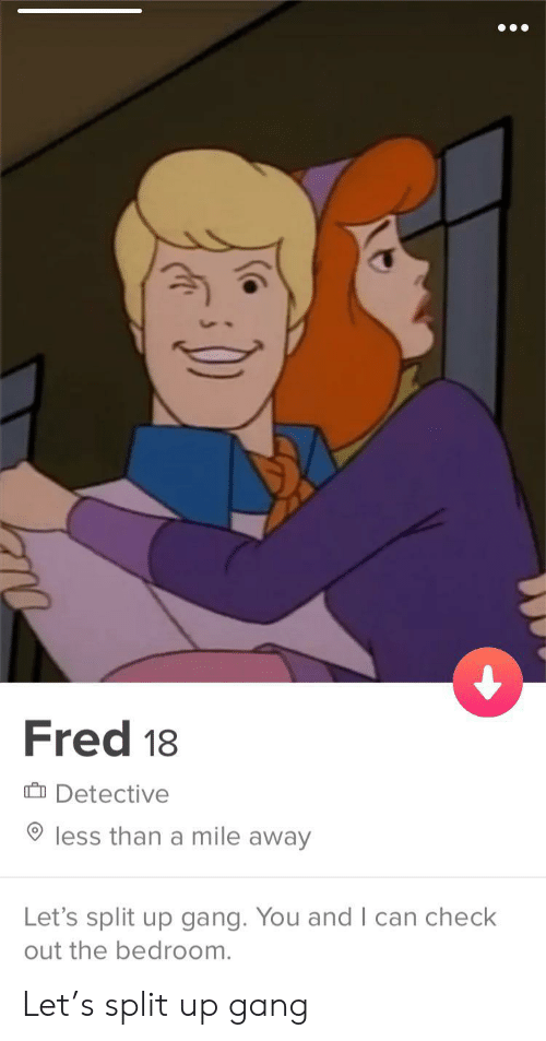 Gang, Fred, and Can: Fred 18  Detective  less than a mile away  Let's split up gang. You and I can check Let's split up gang