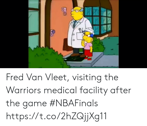 Sports, The Game, and Game: Fred Van Vleet, visiting the Warriors medical facility after the game #NBAFinals https://t.co/2hZQjjXg11