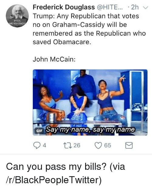 Frederick Douglass: Frederick Douglass @HITE... -2h v  Trump: Any Republican that votes  no on Graham-Cassidy will be  remembered as the Republican who  saved Obamacare.  B TCH  ARE YOU CRAZY  John McCain:  GIF Say my name, say'mn name  94  26 <p>Can you pass my bills? (via /r/BlackPeopleTwitter)</p>