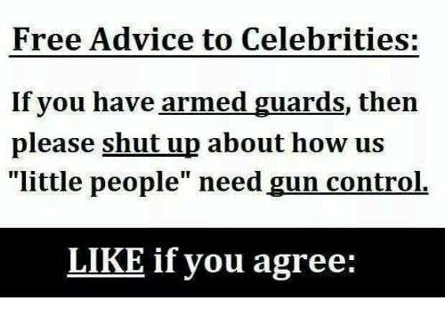 """Advice, Memes, and Shut Up: Free Advice to Celebrities:  If you have armed guards, then  please shut up about how us  """"little people"""" need gun control.  LIKE if you agree:"""