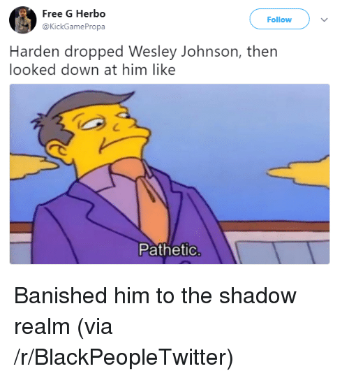 The Shadow Realm: Free G Herbo  @KickGamePropa  Follow  Harden dropped Wesley Johnson, thern  looked down at him like  Pathetic <p>Banished him to the shadow realm (via /r/BlackPeopleTwitter)</p>