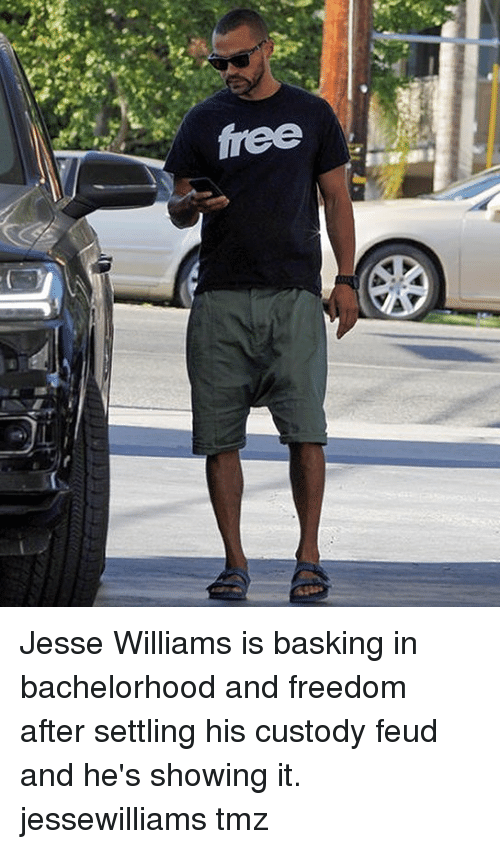 frees: free Jesse Williams is basking in bachelorhood and freedom after settling his custody feud and he's showing it. jessewilliams tmz