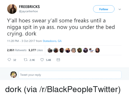 Ass, Blackpeopletwitter, and Broomstick: FREEBRICK$  @jaycartierhoe  Follow  Y'all hoes swear y'all some freaks until a  nigga spit in ya ass. now you under the bed  crying. dork  1:28 PM-3 Oct 2017 from Statesboro, GA  2,051 Retweets 5,377 Likes  Tweet your reply <p>dork (via /r/BlackPeopleTwitter)</p>