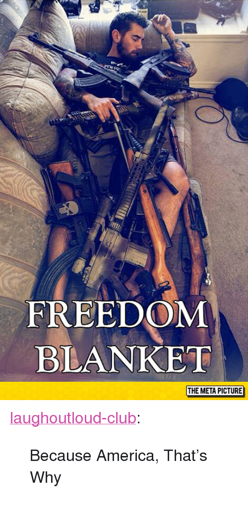 "Because America: FREEDOM  BLANKET  THE META PICTURE <p><a href=""http://laughoutloud-club.tumblr.com/post/154136112674/because-america-thats-why"" class=""tumblr_blog"">laughoutloud-club</a>:</p>  <blockquote><p>Because America, That's Why</p></blockquote>"