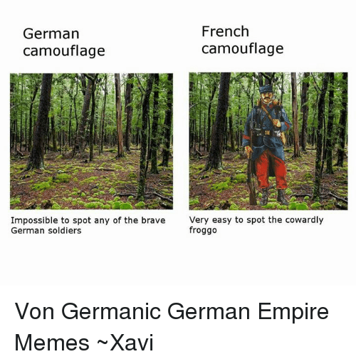 Dank, Empire, and Soldiers: French  German  camouflage  camouflage  Impossible to spot any of the brave  Very easy to spot the cowardly  froggo  German soldiers Von Germanic German Empire Memes ~Xavi