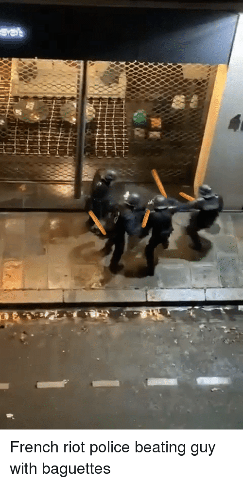 Police, Riot, and French: French riot police beating guy with baguettes