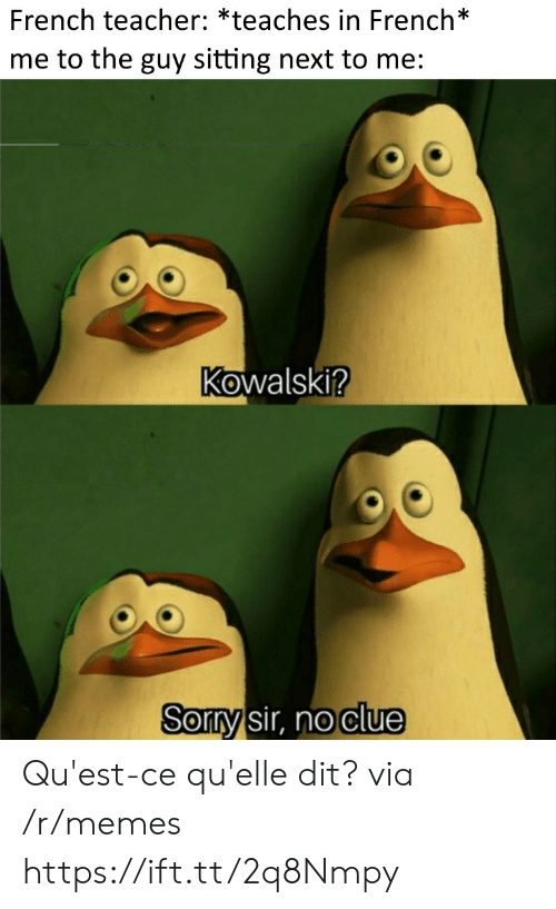 Memes, Sorry, and Teacher: French teacher: *teaches in French*  me to the guy sitting next to me:  Kowalski?  Sorry sir, no clue Qu'est-ce qu'elle dit? via /r/memes https://ift.tt/2q8Nmpy