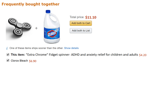 "Children, Chrome, and Adhd: Frequently bought together  Total price: $11.10  Add both to Cart  Add both to List  LOR  i One of these items ships sooner than the other. Show details  This item: ""Extra Chrome"" Fidget spinner-ADHD and anxiety relief for children and adults $4.20  Clorox Bleach $6.90"