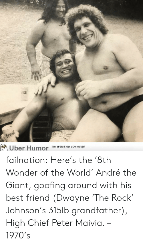 André the Giant, Best Friend, and Tumblr: Fres  Uber Humor  I'm afraid I just blue myself. failnation:  Here's the '8th Wonder of the World' André the Giant, goofing around with his best friend (Dwayne 'The Rock' Johnson's 315lb grandfather), High Chief Peter Maivia. – 1970's