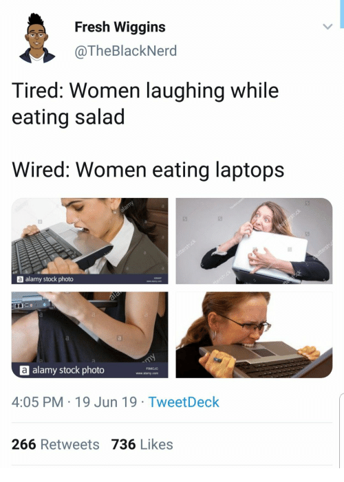 Fresh, Wired, and Women: Fresh Wiggins  @TheBlackNerd  Tired: Women laughing while  eating salad  Wired: Women eating laptops  alamy  a alamy stock photo  shusterst.ck  utterstck  ala  Shutterst  terst ck  eck  a  alamy stock photo  my  4:05 PM 19 Jun 19 Tweet Deck  FOMCJC  www.alamy.com  266 Retweets 736 Likes
