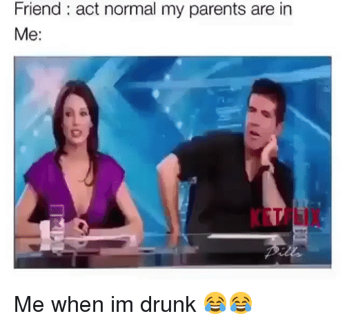 Me When Im Drunk: Friend: act normal my parents are in  Me:  KETFLIX Me when im drunk 😂😂