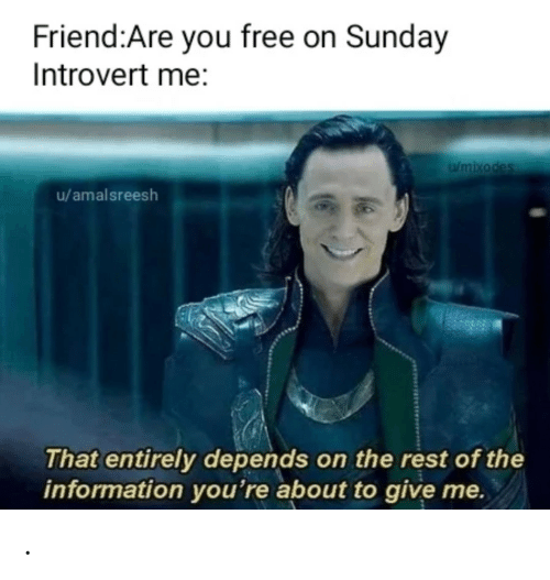 Introvert, Free, and Information: Friend:Are you free on Sunday  Introvert me:  Wmixodes  u/amalsreesh  That entirely depends on the rest of the  information you're about to give me. .