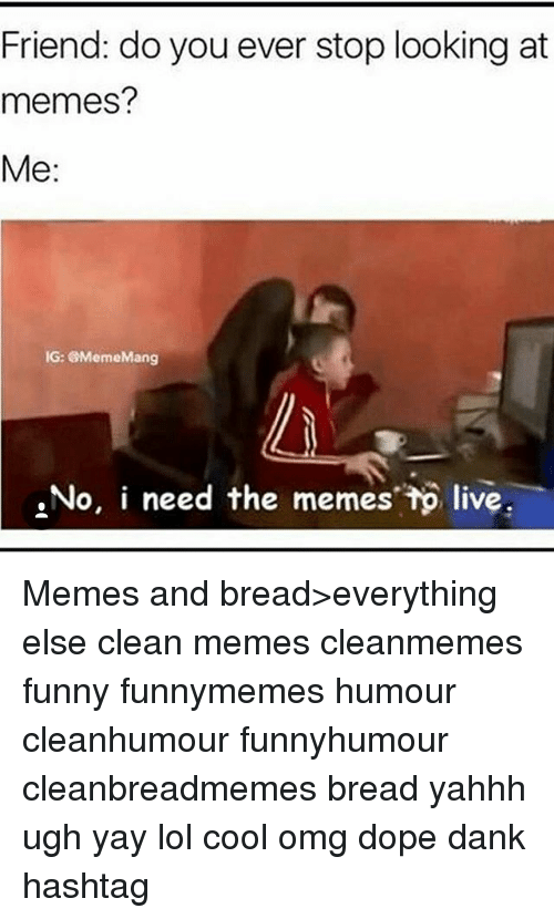 Clean Memes: Friend: do you ever stop looking at  memes?  Me:  IG: MemeMang  No, i need the memes tp live Memes and bread>everything else clean memes cleanmemes funny funnymemes humour cleanhumour funnyhumour cleanbreadmemes bread yahhh ugh yay lol cool omg dope dank hashtag