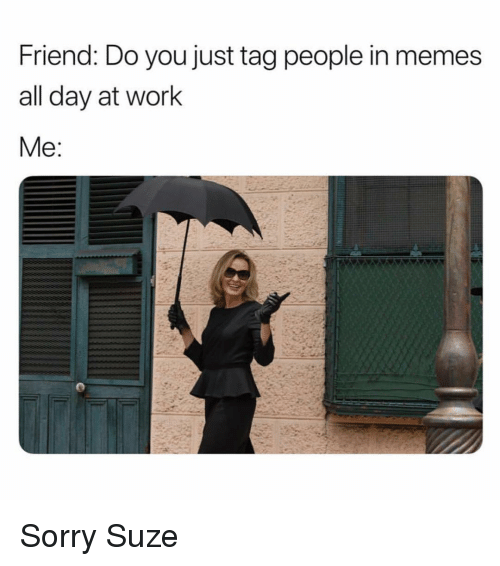 Memes, Sorry, and Work: Friend: Do you just tag people in memes  all day at work  Me Sorry Suze