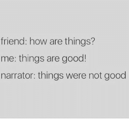 narrator: friend: how are things?  me: things are good  narrator: things were not good