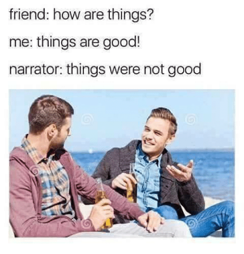 narrator: friend: how are things?  me: things are good!  narrator: things were not good
