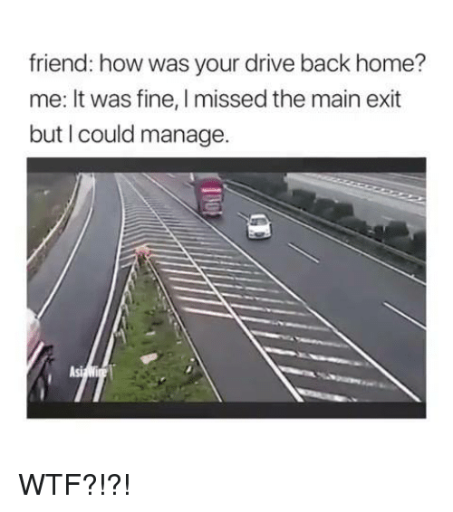 Memes, Wtf, and Drive: friend: how was your drive back home?  me: It was fine, I missed the main exit  but I could manage.  Asi WTF?!?!