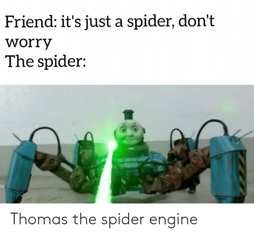 Just A: Friend: it's just a spider, don't  worry  The spider: Thomas the spider engine