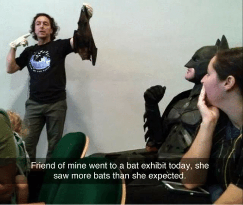 Saw, Today, and Mine: Friend of mine went to a bat exhibit today, she  saw more bats than she expected