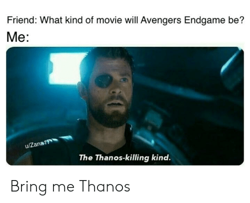 Friend What Kind Of Movie Will Avengers Endgame Be Me The Thanos