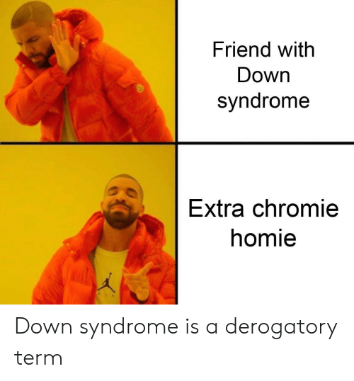 Homie, Down Syndrome, and Friend: Friend with  Down  syndrome  Extra chromie  homie Down syndrome is a derogatory term