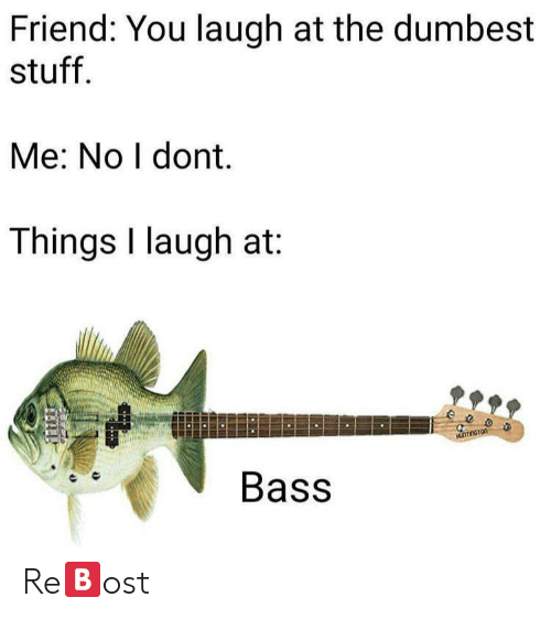bass: Friend: You laugh at the dumbest  stuff.  Me: No I dont.  Things I laugh at:  ee  Bass Re🅱️ost