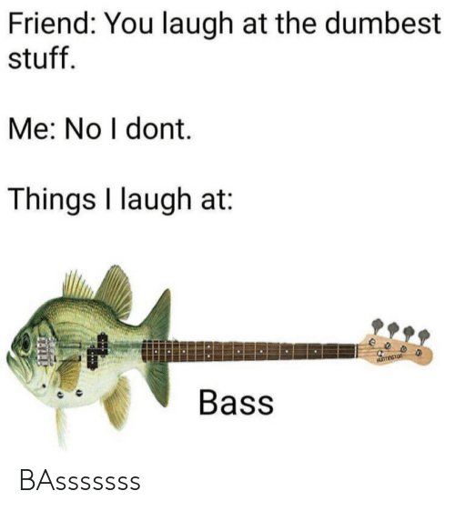 Me No: Friend: You laugh at the dumbest  stuff  Me: No I dont.  Things I laugh at  eeo  Bass BAsssssss