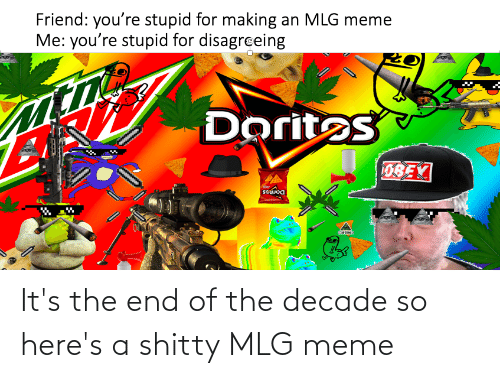 Mlg Meme: Friend: you're stupid for making an MLG meme  Me: you're stupid for disagreing  Doritos  0BEV  souoa It's the end of the decade so here's a shitty MLG meme